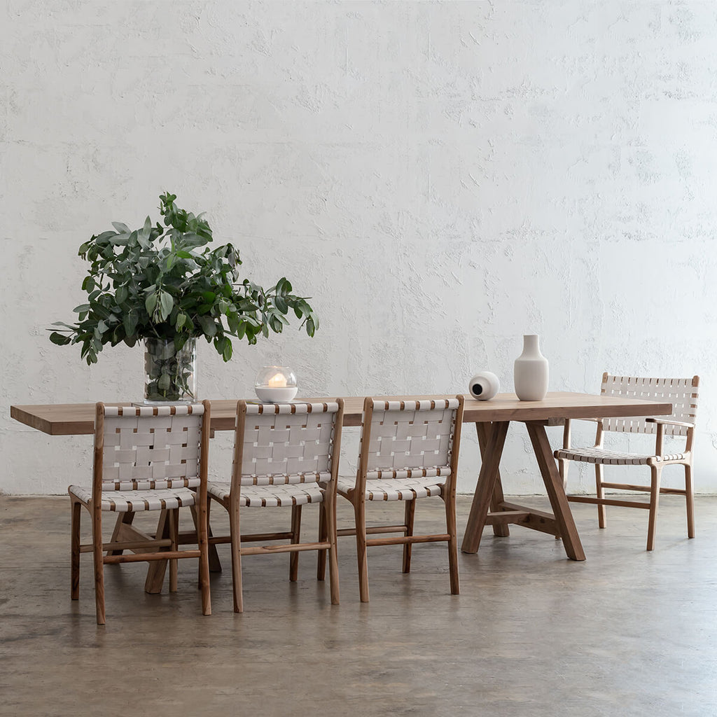 HESTON RECYCLED TEAK DINING TABLE   |  RECYCLED TEAK INDOOR COUNTRY DINING TABLE WITH MALAND DINING CHAIRS