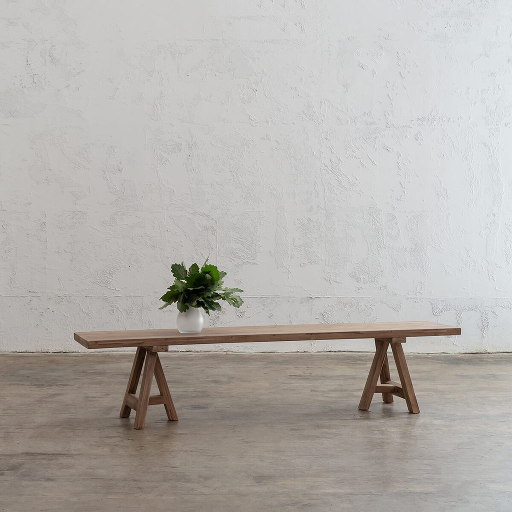 HESTON RECYCLED TEAK DINING BENCH   |  RECYCLED TEAK INDOOR COUNTRY DINING TABLE + BENCHES