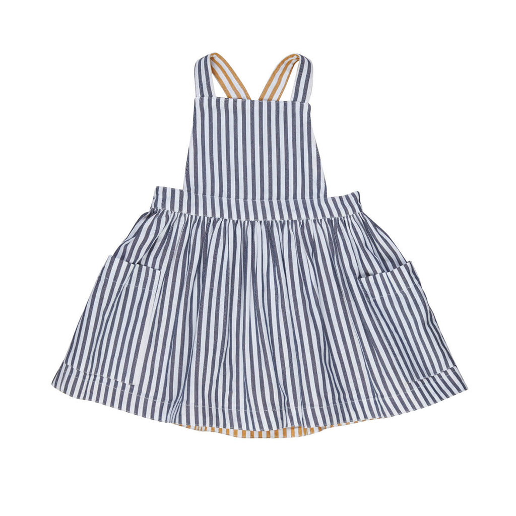 Huxbaby Striped Navy and White Pinafore with pockets