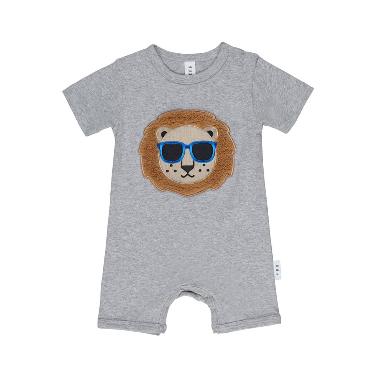 HUXBABY  |  COOL LION SHORT ROMPER  |  GREY MARLE