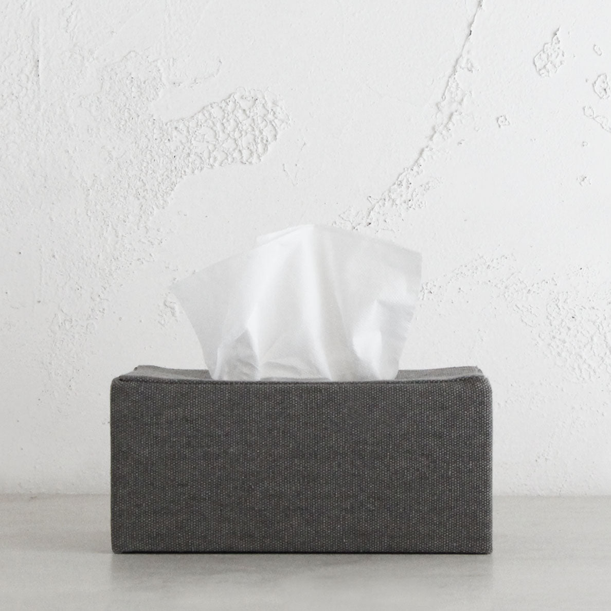 TELA CANVAS TISSUE BOX RECTANGULAR  |  GREY LINEN CANVAS
