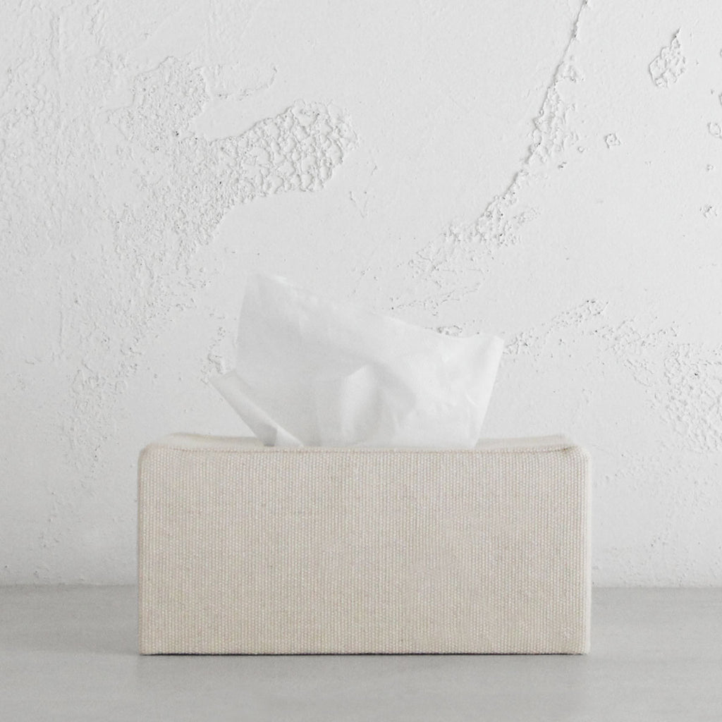 TELA CANVAS TISSUE BOX COVER  |  RECTANGLE  |  WHITE LINEN LOOK