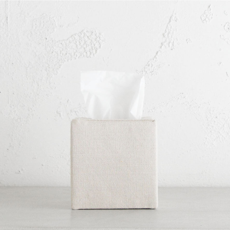 TELA CANVAS TISSUE BOX COVER  |  SQUARE  |  WHITE LINEN LOOK