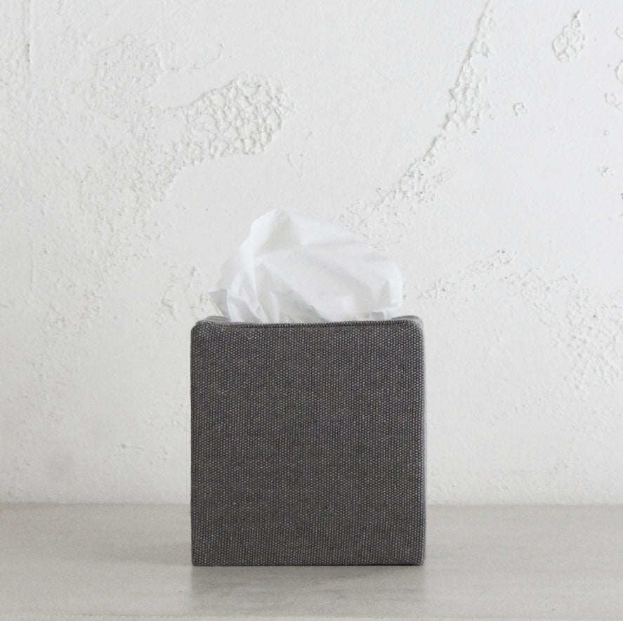 TELA CANVAS TISSUE BOX SQUARE  |  GREY LINEN LOOK