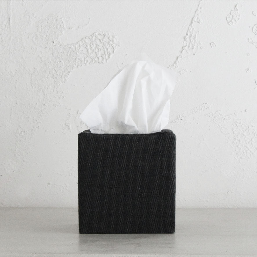 TELA CANVAS TISSUE BOX COVER SQUARE  |  BLACK LINEN LOOK