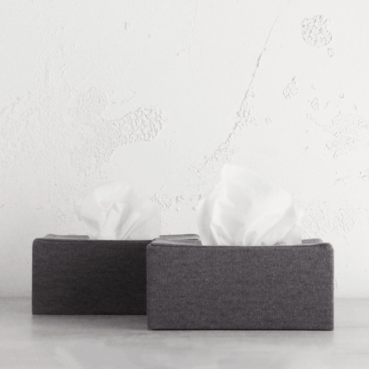 TELA CANVAS TISSUE BOX COVERS  |  2 x RECTANGLE COVERS  |  GREY LINEN LOOK