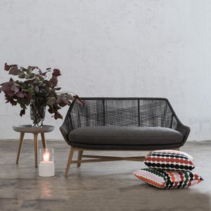 INIZIA WOVEN OUTDOOR 2 SEAT SOFA  |  MONUMENT BLACK