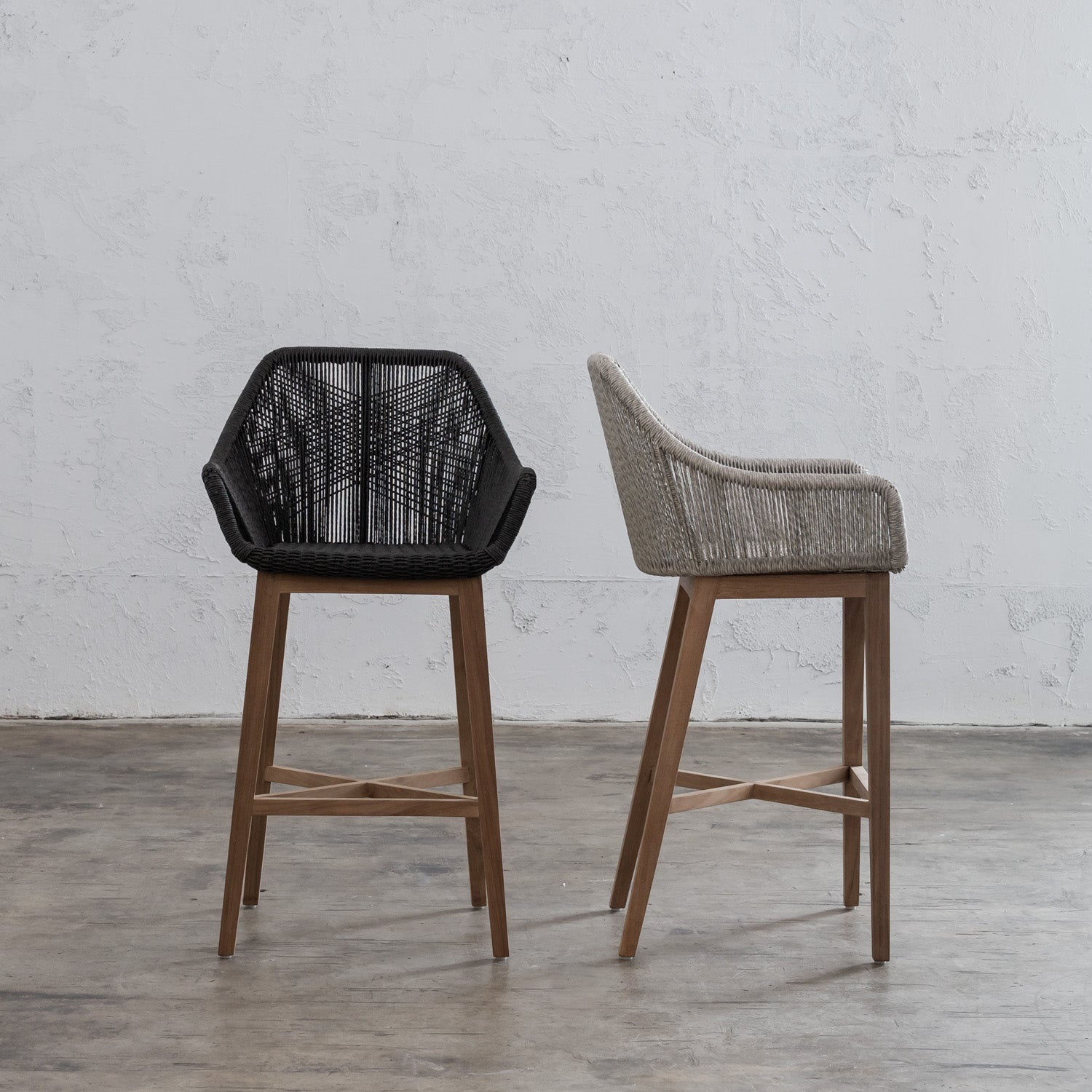PRE ORDER | INIZIA WOVEN RATTAN INDOOR / OUTDOOR BAR STOOL  |  MONUMENT BLACK