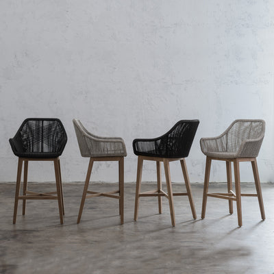 INIZIA WOVEN OUTDOOR BAR STOOL  | BAR CHAIR  |  MONUMENT BLACK  |  MODERN RATTAN