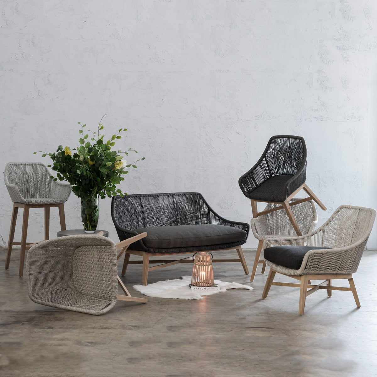 INIZIA OUTDOOR WOVEN LOUNGE CHAIR  |  ASH GREY  |  MODERN RATTAN
