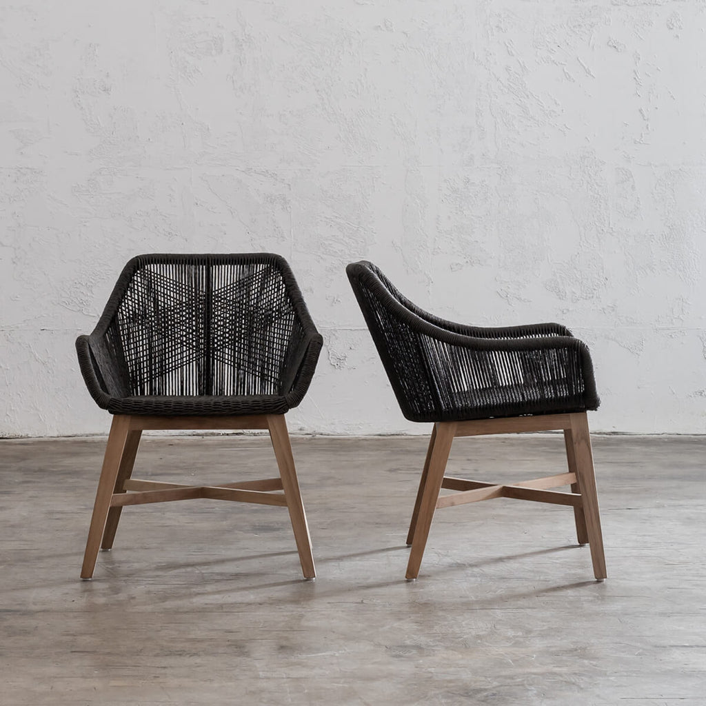 INIZIA WOVEN OUTDOOR DINING CHAIR  |  MONUMENT BLACK  |   HAMPTONS MODERN RATTAN DINING CHAIR