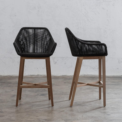 INIZIA WOVEN WICKER RATTAN OUTDOOR BAR STOOL  | BAR CHAIR  |  BLACK  |  HAMPTONS MODERN RATTAN