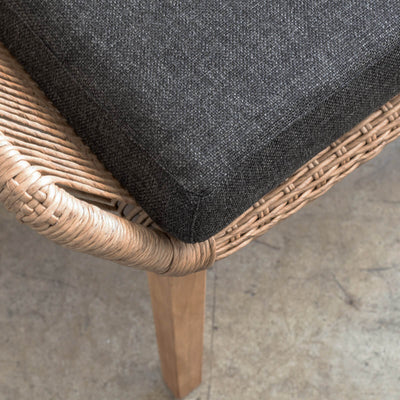 INIZIA WOVEN RATTAN INDOOR OUTDOOR BAR STOOL  |  WARM HUSK  |  HAMPTONS BAR CHAIR