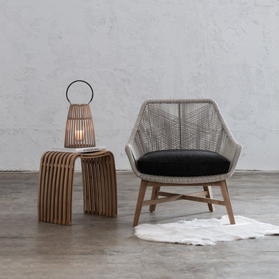 INIZIA OUTDOOR WOVEN LOUNGE CHAIR  |  ASH GREY  |  HAMPTONS MODERN RATTAN CHAIR