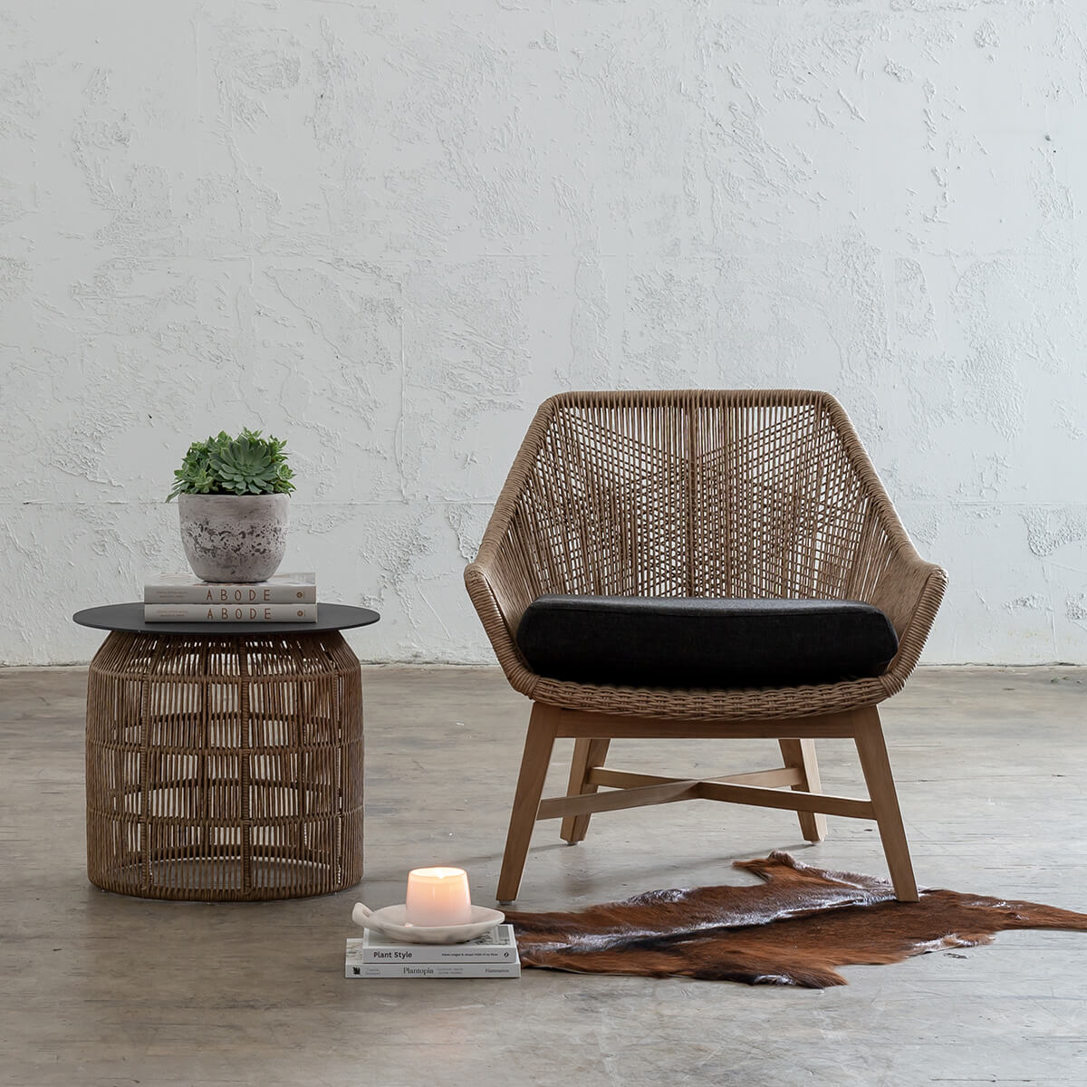 INIZIA WOVEN RATTAN INDOOR OUTDOOR LOUNGE CHAIR  |  WARM HUSK  |  HAMPTONS MODERN RATTAN CHAIR