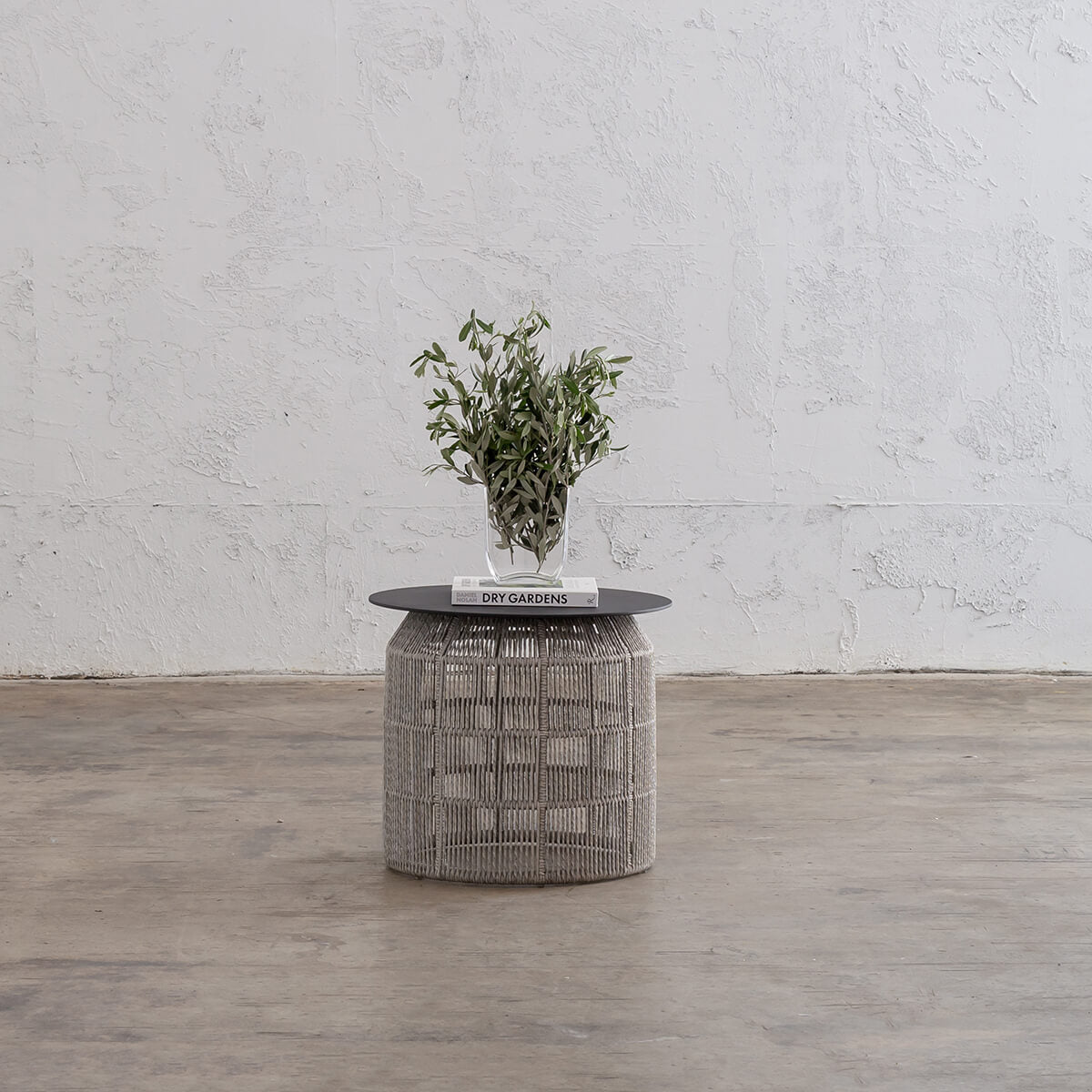 INIZIA WOVEN RATTAN INDOOR OUTDOOR  SIDE TABLE  |  ASH GREY  |  HAMPTONS MODERN RATTAN SIDE TABLE