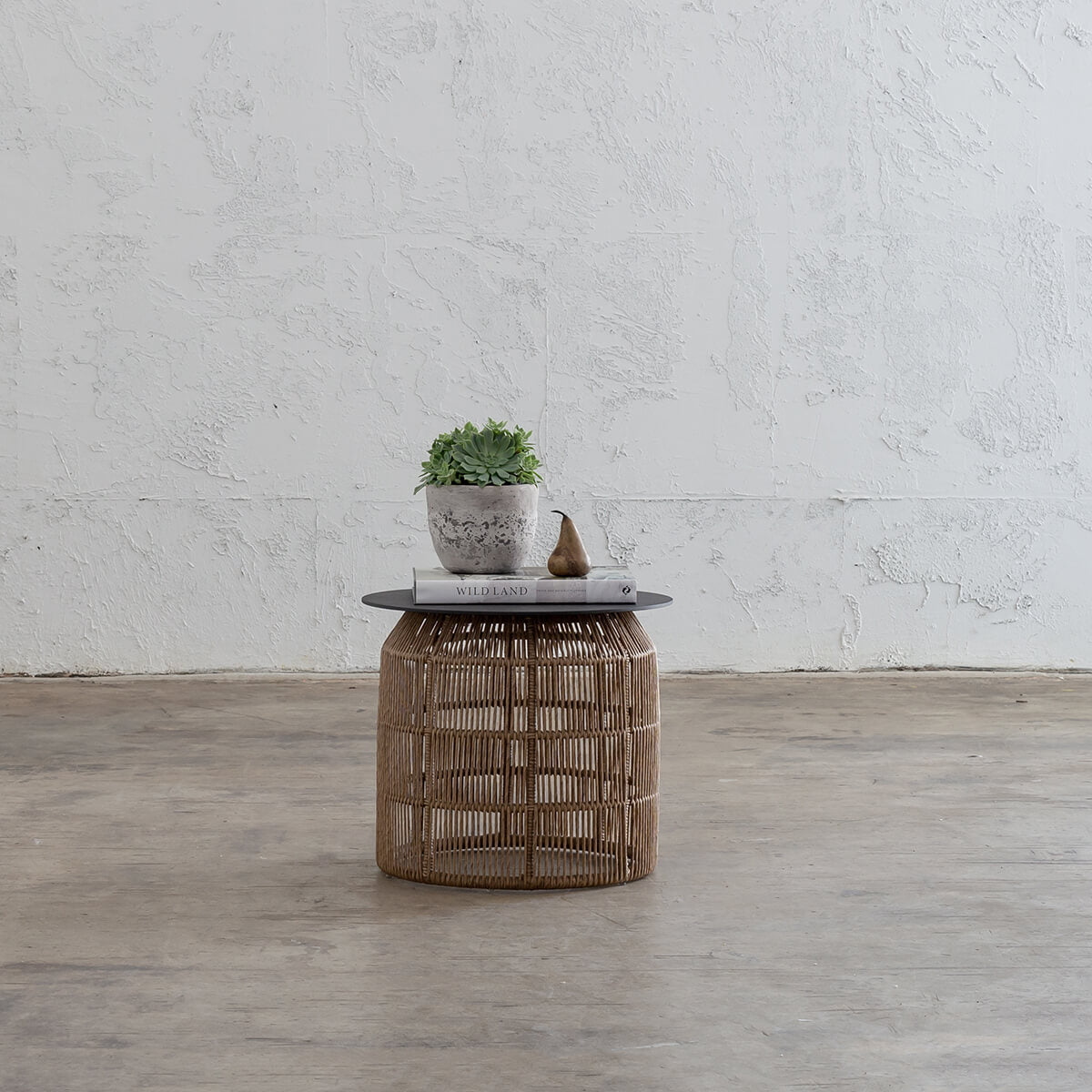 PRE ORDER | INIZIA WOVEN RATTAN INDOOR / OUTDOOR SIDE TABLE |  WARM HUSK