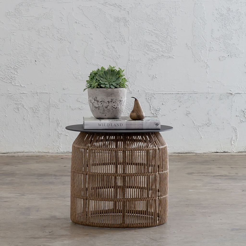 INIZIA WIVEN RATTAN INDOOR OUTDOOR HAMPTONS SIDE TABLE WARM HUSK