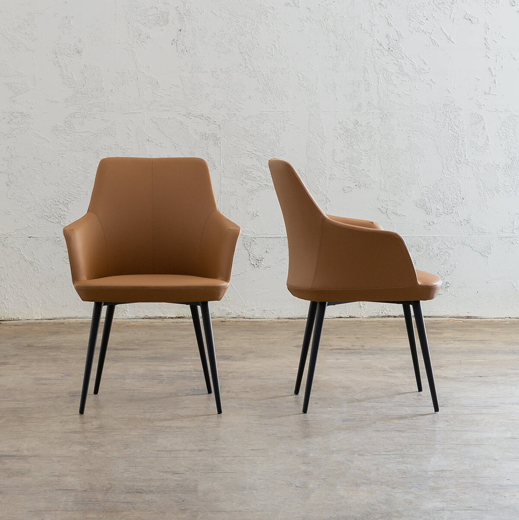 JAKOB CARVER CHAIR | FAUX LEATHER | SADDLE TAN