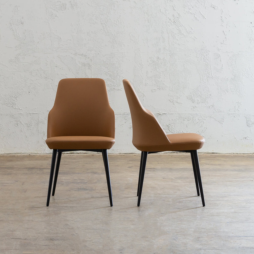 JAKOB DINING CHAIR  |  FAUX LEATHER  |  SADDLE TAN
