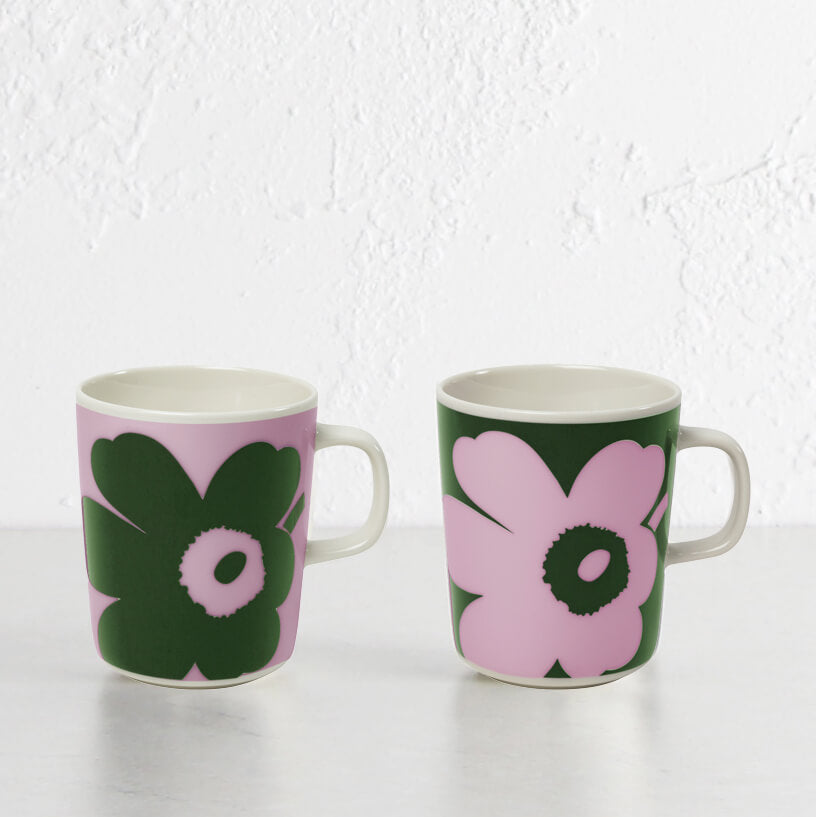 MARIMEKKO | JUHLA UNIKKO MUG 2.5DL | BOXED LIMITED EDITION | PINK + GREEN | SET OF 2