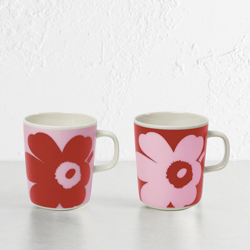 MARIMEKKO | JUHLA UNIKKO MUG 2.5DL | BOXED LIMITED EDITION | PINK + RED | SET OF 2
