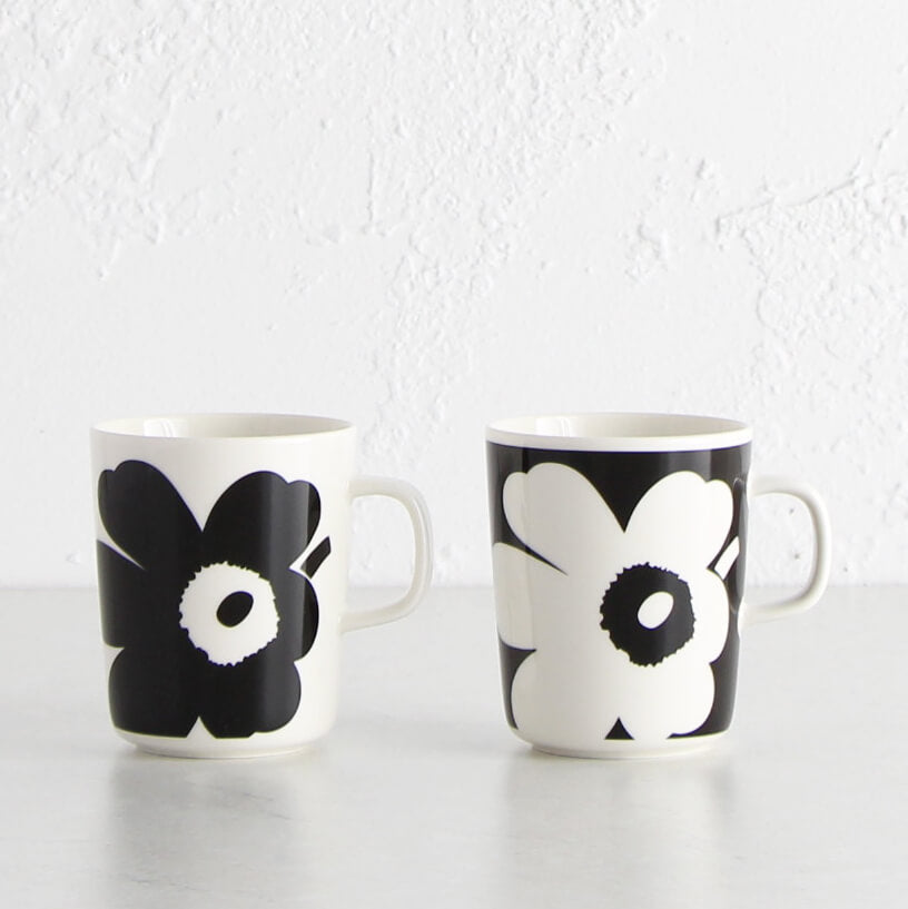 MARIMEKKO | JUHLA UNIKKO MUG 2.5DL | LIMITED EDITION | BLACK + WHITE | SET OF 2