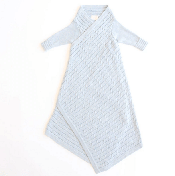 JUJO BABY  |  ALL OVER LUXURY CABLE KNIT SHWRAP  |  LIGHT BLUE MELANGE  BABY WRAP