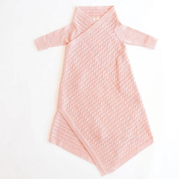 JUJO BABY  |  ALL OVER LUXURY CABLE KNIT SHWRAP  |  PINK MELANGE  BABY WRAP