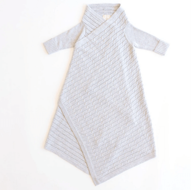 JUJO BABY  |  ALL OVER LUXURY CABLE KNIT SHWRAP  |  SILVER MELANGE  BABY WRAP