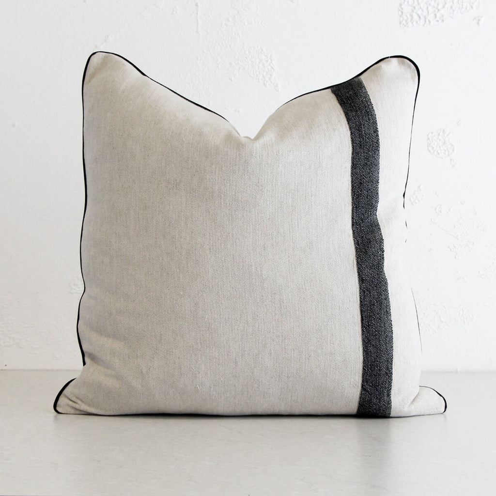 KADIR LINEN CUSHION | 60 x 60cm | NATURAL LINEN LOOK WITH BLACK STRIPE