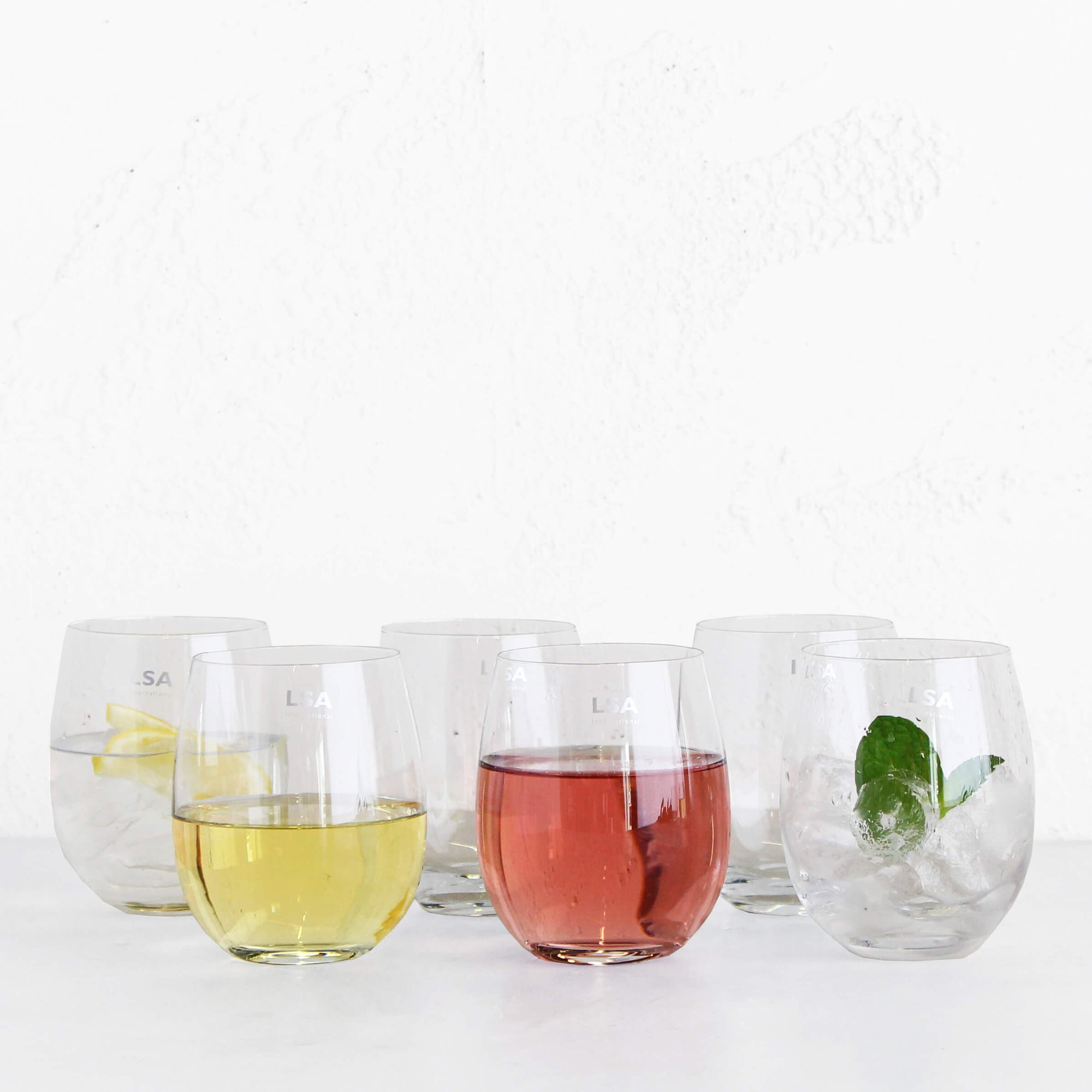 LSA Stemless Balloon White Wine + Water | Box Set 6 | Versatile Design