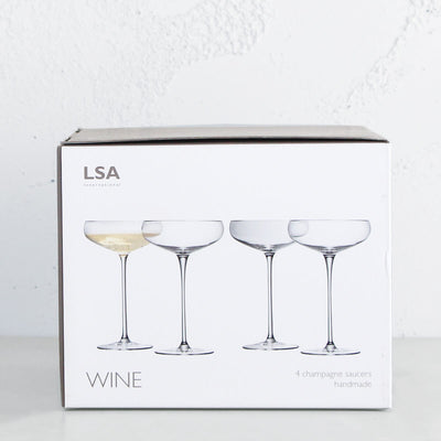 LSA CHAMPAGNE SAUCERS  |  SET OF 4 CHAMPAGNE GLASSES