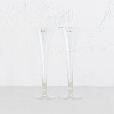 LSA BAR HOLLOW STEM CHAMPAGNE FLUTES  |  BOXED SET OF 2 GLASSES  |  CHAMPAGNE GLASSES ON SALE