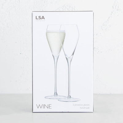 LSA INTERNATIONAL PROSECCO GLASSES | CHAMPAGNE GLASSES  GIFT BOXED