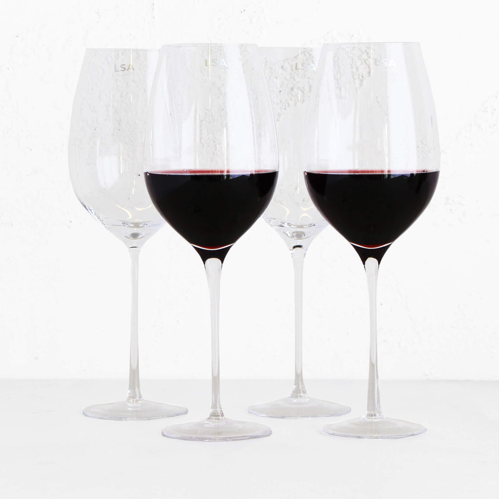 LSA Red Wine Goblets | Boxed Set 4 | Refined Design | Hand Blown
