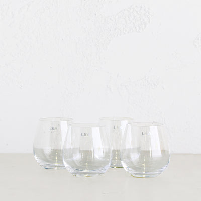 LSA STEMLESS WHITE WINE OR WATER GLASSES  |  SET OF 4 GLASSES