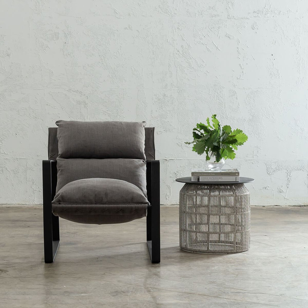 LAURENT ARM CHAIR  |  ANCHOR GREY FABRIC  |  LOUNGE CHAIR