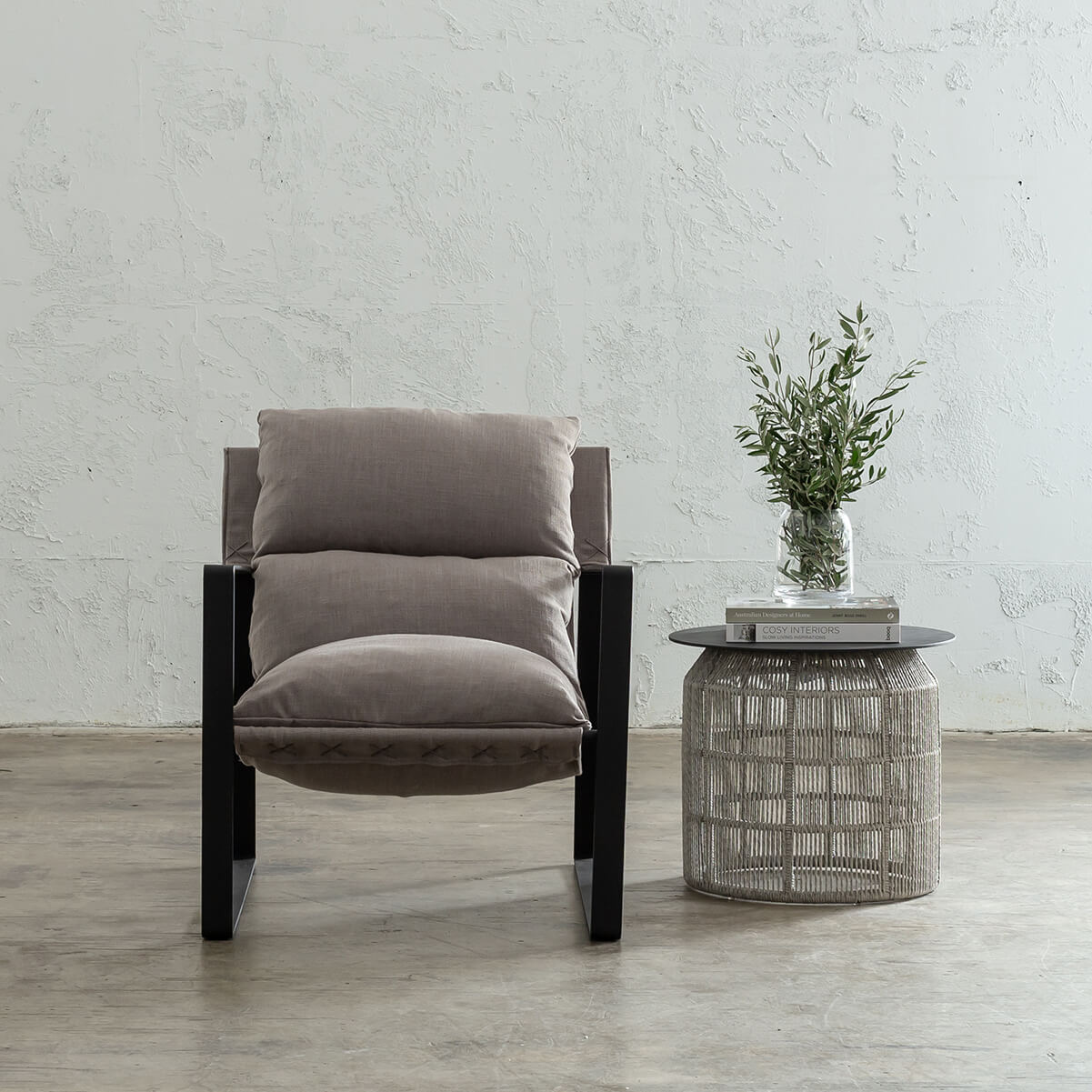 LAURENT ARM CHAIR  |  COCONUT HUSK  |  FABRIC UPHOLSTERED OCCASIONAL CHAIR