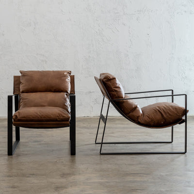 LAURENT LEATHER ARM CHAIR  |  COGNAC LEATHER  | VINTAGE LEATHER OCCASIONAL CHAIR