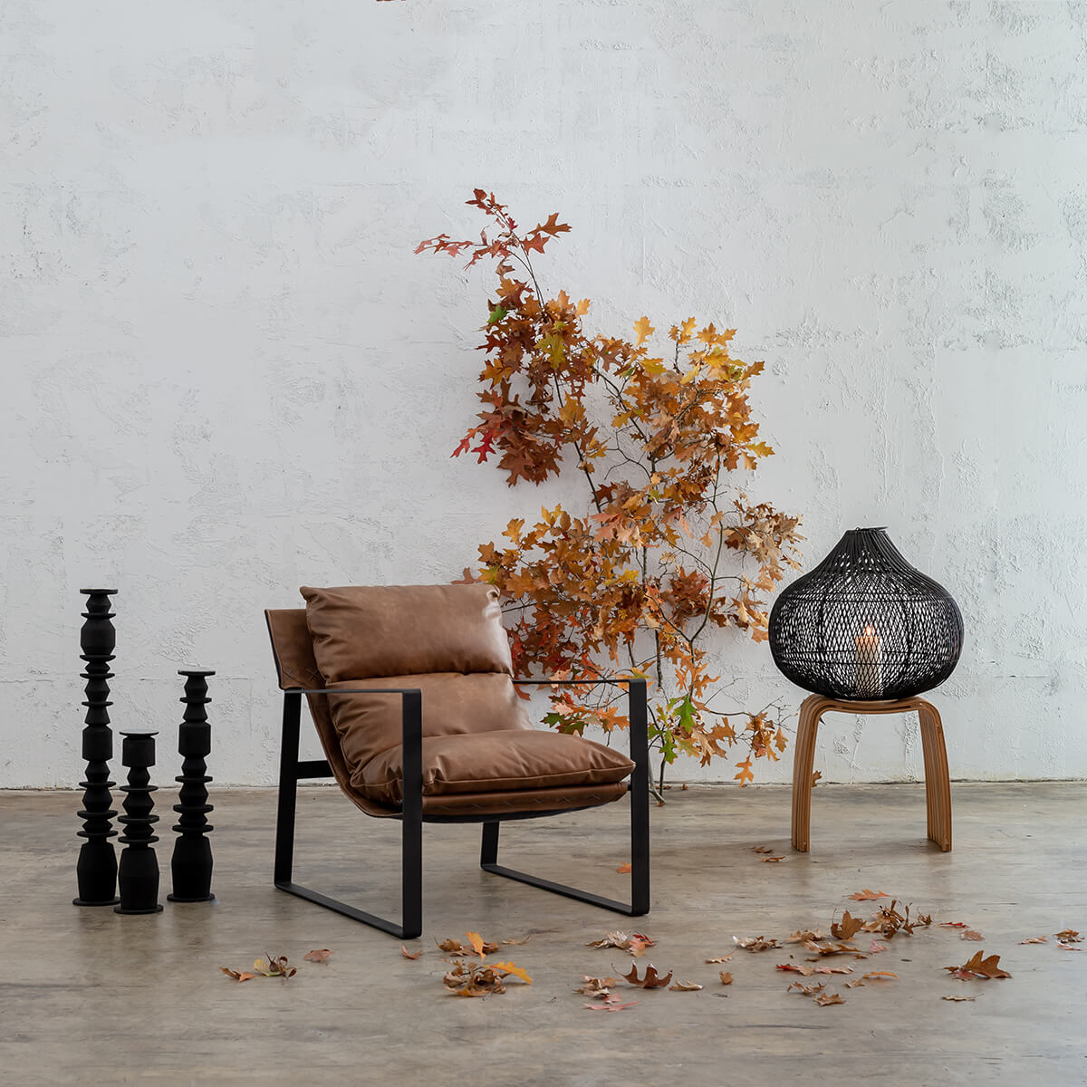 Picture of: Laurent Leather Arm Chair Cognac Leather