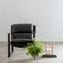 LAURENT LEATHER ARM CHAIR  |  NOIR BLACK LEATHER  |  LEATHER LOUNGE CHAIR