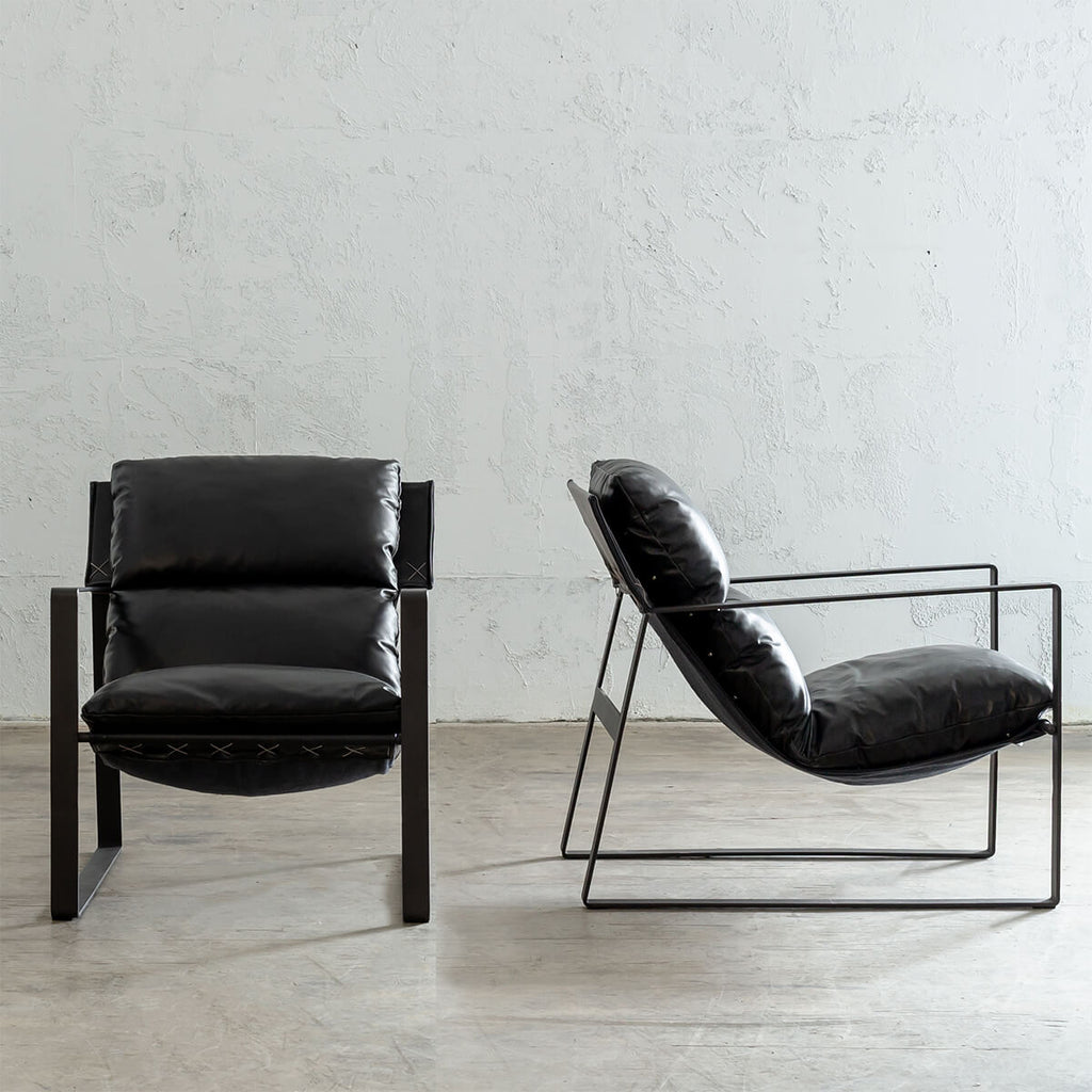 LAURENT LEATHER ARM CHAIR PACKAGE | NOIR BLACK LEATHER |  LEATHER LOUNGE FURNITURE