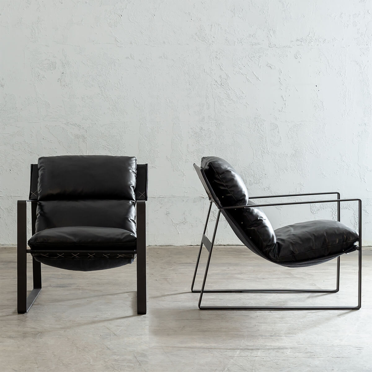 LAURENT LEATHER ARM CHAIR PACKAGE  |  NOIR BLACK LEATHER  |   2 X LAURENT CHAIRS