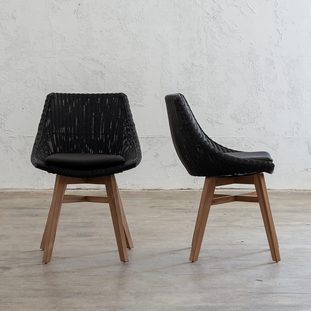 LECCO HAMPTON RATTAN WOVEN DINING CHAIR  |  BLACK WICKER NOOSA DINING CHAIR