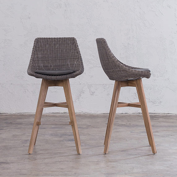LECCO HAMPTON INSPIRED RATTAN WOVEN BAR CHAIR  |  NOOSA DINING CHAIR