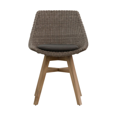 LECCO HAMPTON INSPIRED RATTAN WOVEN DINING CHAIR  |  GREY WICKER |  INDOOR + OUTDOOR FURNITURE