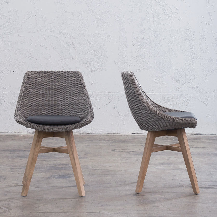 LECCO HAMPTON INSPIRED RATTAN WOVEN DINING CHAIR | GREY WICKER