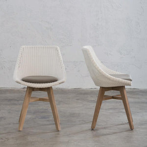 LECCO HAMPTON INSPIRED RATTAN WOVEN DINING CHAIR  |  WHITE WICKER