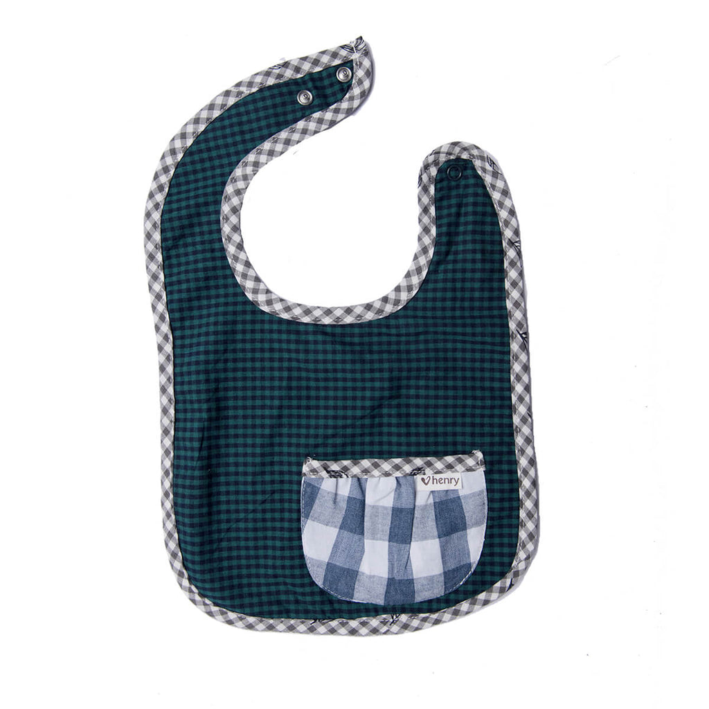 Love Henry Pocket Bib in Green and Blue gingham